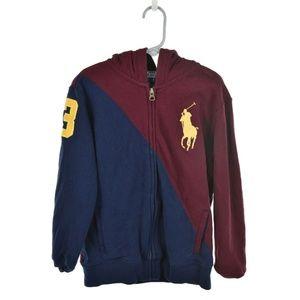 Polo by Ralph Lauren Maroon & Blue Zip-Up Hoodie